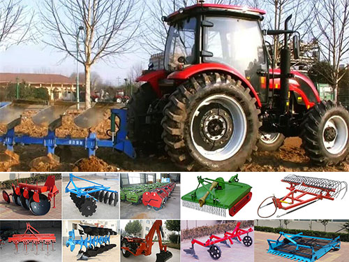 Wheel tractor with Plough